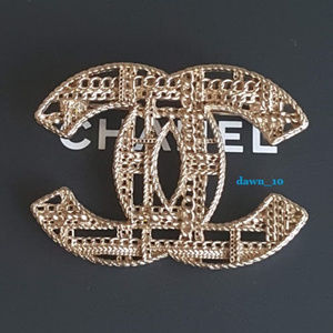 Chanel Tweed Chain Brooch, Light Gold.